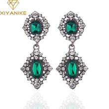 XIYANIKE Vintage Long Earrings Antique Branze Green Stone Crystal Drop Earrings For Women Indian Wedding Jewelry Wholesale E48