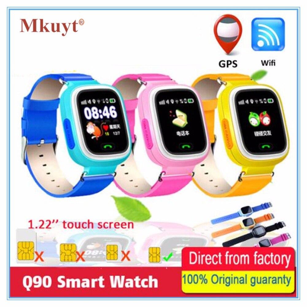 MKUYT Q90 GPS Téléphone Positionnement Enfants Enfants Montre Smart Watch 1.22 Pouce couleur Écran Tactile avec WIFI SOS Montre-Bracelet PK Q80 Q50 Q60