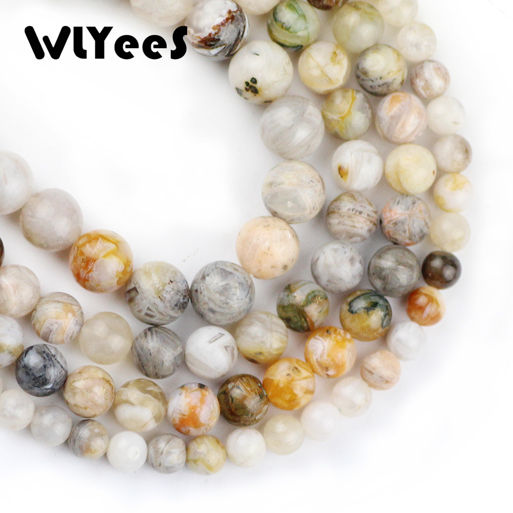 WLYee Natural stone Bamboo Leaf carnelian beads ball Round Loose bead 6 8 10 mm for women jewelry Bracelets Making Accessory DIY in Beads from Jewelry Accessories