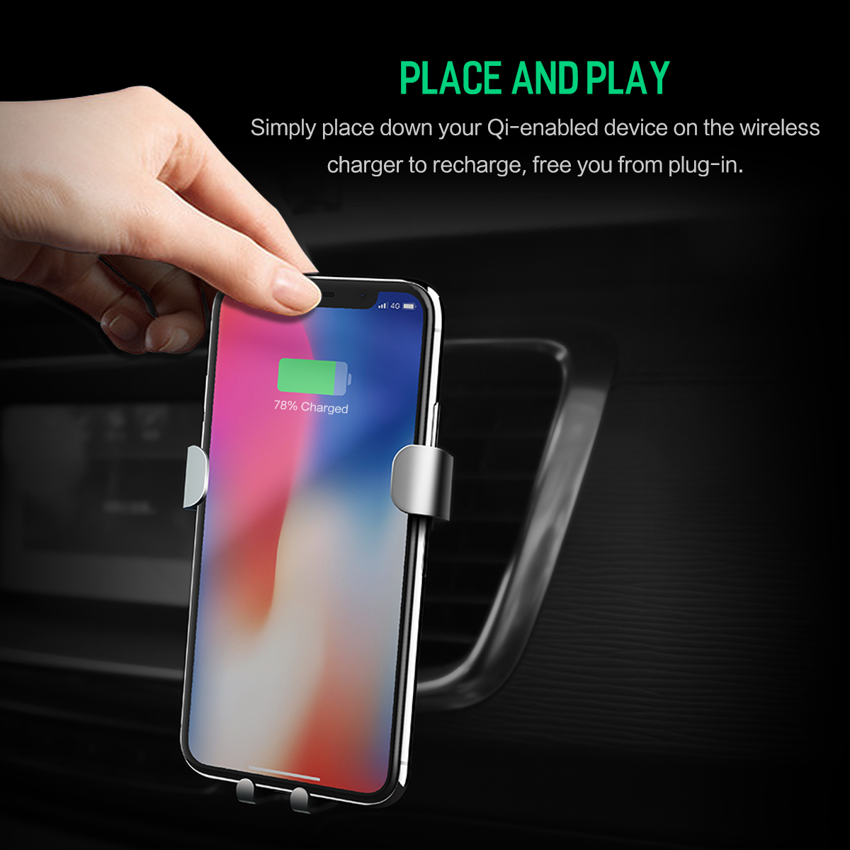 HTB1U3ZjvAZmBKNjSZPiq6xFNVXaf - 10W QI Wireless Car Charger Gravity Holder , ROCK for iPhone X 8 Plus Samsung Galaxy S8 S7 Note 8 Quick Charge Charging Stand