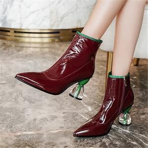 Image 5 - Fedonas nova moda feminina sapatos outono inverno tornozelo botas de couro genuíno botas chelsea apontou toe saltos altos sapatos de festa mulher