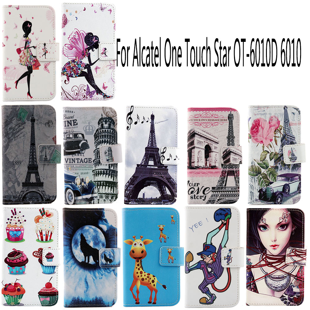 AiLiShi PU Cartoon Book Flip Leather Case For <font><b>Alcatel</b></font> One Touch Star OT-6010D <font><b>6010</b></font> Hot Cover Skin Colorful Painted In Stock image