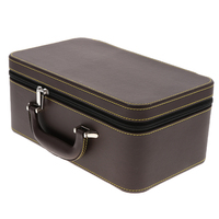 Brown Travel Carrying Jewelry Organizer Box Case for Necklace Bracelets Earrings Watches Trinkets Treasure Chest Home Supplies