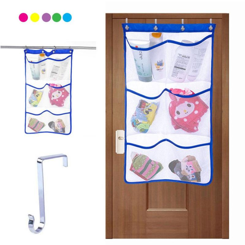 6 Pocket Kids Bath Bathtub Toy Socks Mesh Net Storage Bag Organizer Holder Bathroom Storage Baskets #15