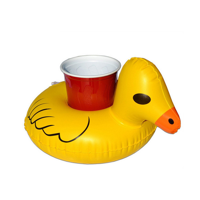 1Pcs Mini Water Coasters Duck Inflatable Cup Holder Floating Pool Drink  Float Toy Can Beer Sand
