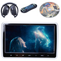 1PCS 10 Inch HD TFT LCD Screen Touch Botton Car Headrest Monitor DVD Player USB/SD/HDMI/FM 32 Bits Wireless Games +Headphones