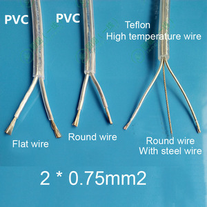 2 / 5/ 10M/lot Transparent 2*0.75mm sheath power cord PVC or Teflon High temperature cable with steel wire DIY lamp wire