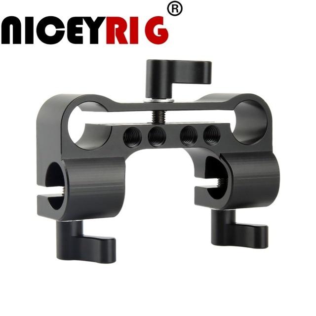 NICEYRIG 15mm DSLR מוט מהדק כפול כדי יחיד 90 תואר Railblock וידאו מצלמת וידאו מצלמה DV/DC כתף תמיכת Rig מערכת