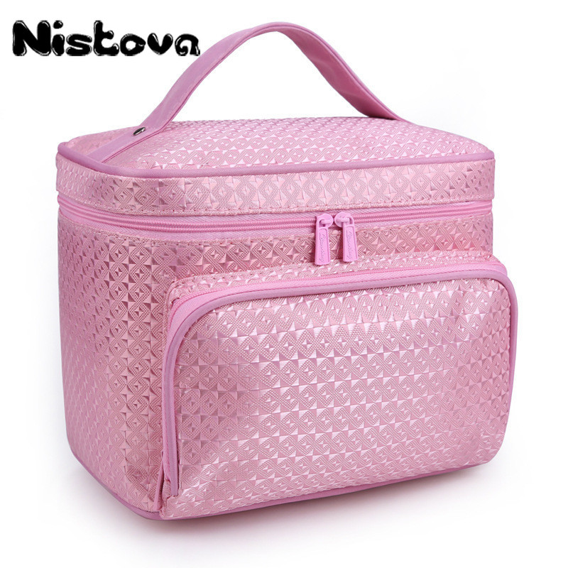 Ladies Fashion Portable Makeup Double Zipper Special Purpose Big Pocket Nylon Box Bags For Travel Cosmetic Storage Cases Product