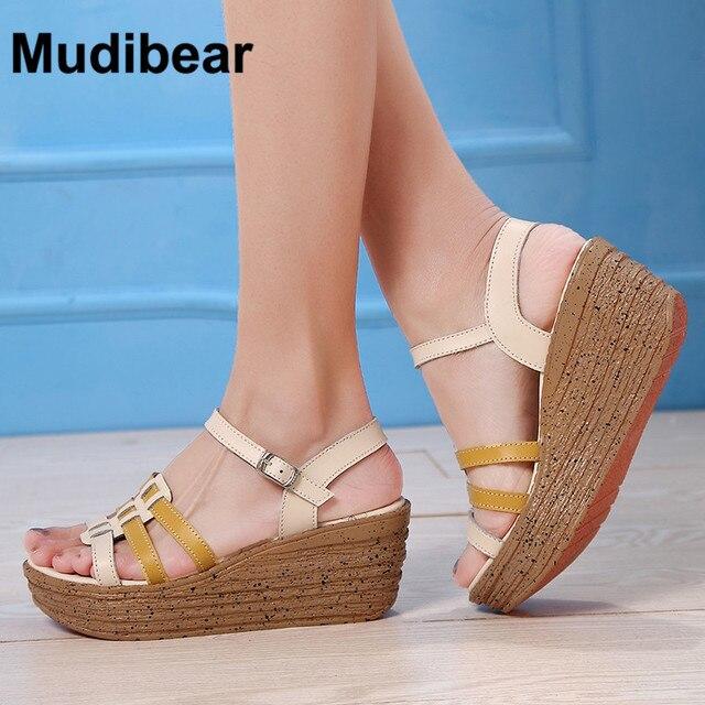 MudiPanda Woman Fashion High Heels Sandals Women PU Leather Slingbacks Buckle Fashion Comfort Shoes Woman Plus Size 35-40