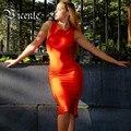 Hot! Free Shipping 2017 Hot Fashion Elegant Side Braided Knee Length Celebrity Party Style HL Bandage Dress