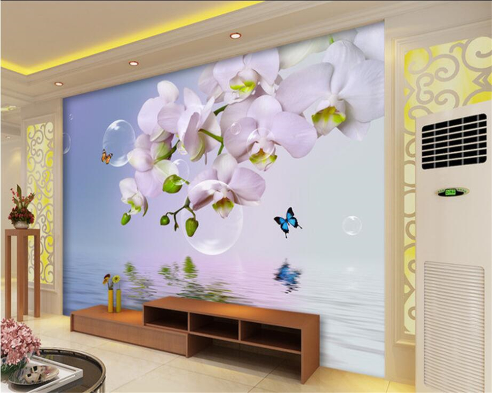 Beibehang Custom Wallpapers Living Room Bedroom Background 3d Wallpapers  Fantasy Phalaenopsis Reflections TV Background Walls