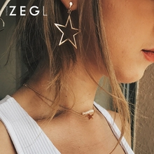 ZEGL ear pierced clips for women temperament fashion star earrings long simple jewelry