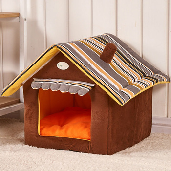 Fashion Striped Dog House Pet Bed