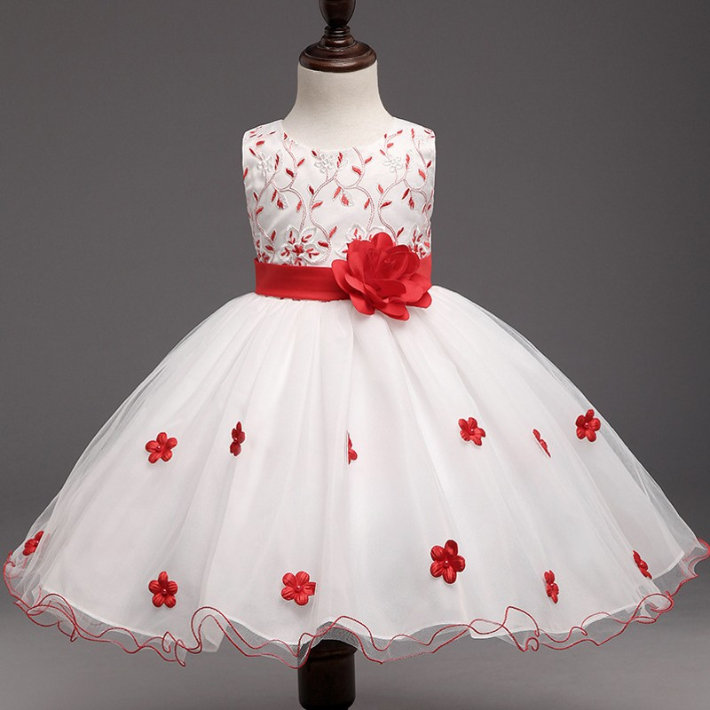 Elegant Red Flowers Tutu Dress For Girl Wedding Little Princess Children Pageant Dresses Kids Tulle Formal Party Dresses