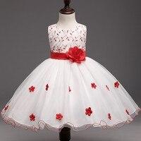 Elegante Rojo Flores Boda Pequeña Princesa de Los Niños Del Tutú De La Muchacha Vestidos Del Desfile Niños Tul Vestidos de Fiesta Formal
