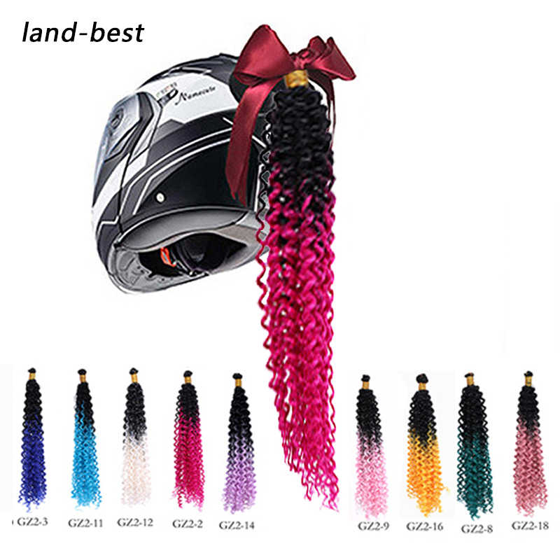 Punk Style Motorcycle Gradient Ramp Helmet Braids Wig Twist Braid Motocross Motorbike Off Road Moto Decoration Crochet Braids