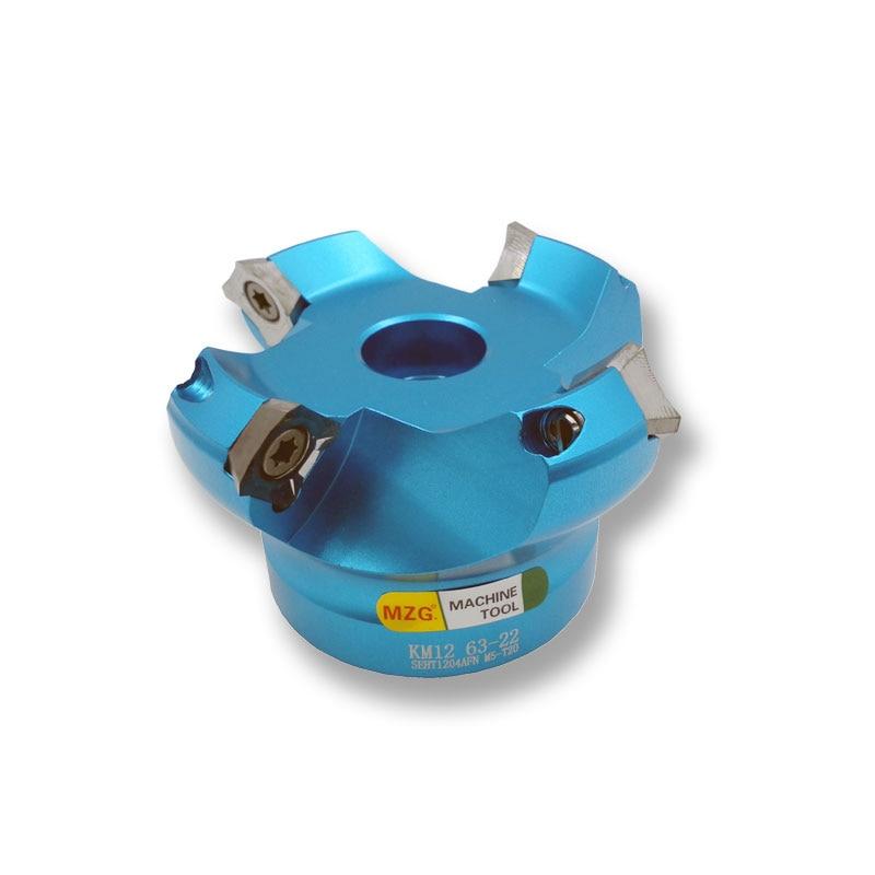 MOSASK Face milling cutter AL KM12R63 22 4T CNC milling Aluminum Face milling cutter Adapter Cemented carbide blade SEHT1204