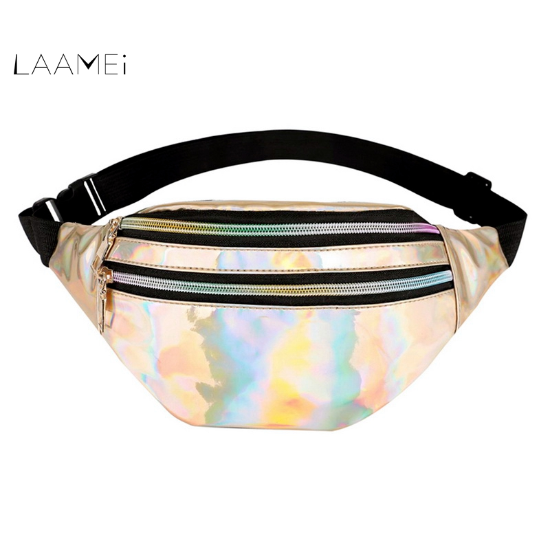 Laamei Holographic Waist Bags Women Pink Silver   Female Belt Bag Black Geometric Waist Packs  Chest Phone Pouch holographic belt purse