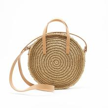 Sling Shoulder Bag Handmade Round Beach Handbag Travel Bohemian Straw Hand Woven Bags Crossbody For Women Summer Handbags