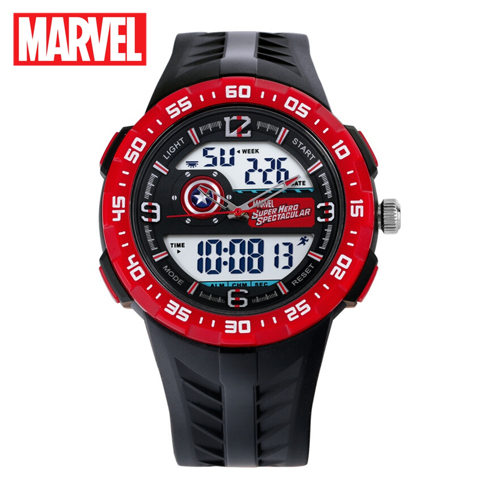 Marvel Avengers Captain America Children Sports Waterproof Rubber Digital Quartz Calendar Alarm Watc