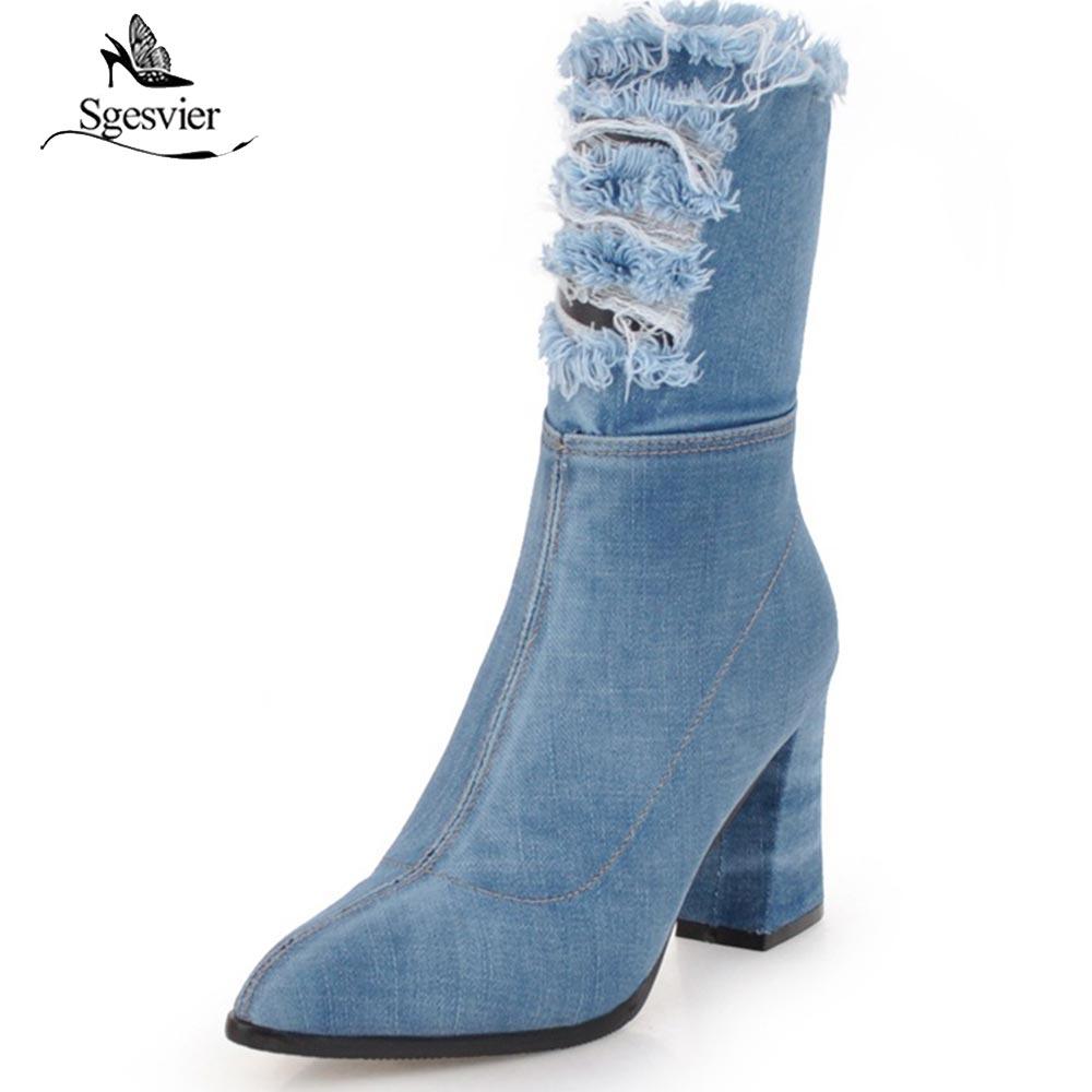 Sgesvier taille 34-43 mode femmes demi bottes Sexy à pointes talons hauts bout pointu toile Denim chaussures automne hiver bottes OX698