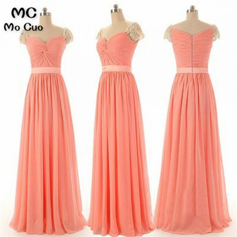 Promotion 2018 Cheap Real Maid of Honer Sweetheart Criss-Cross Chiffon Floor Length Long   Bridesmaid     Dress   for women