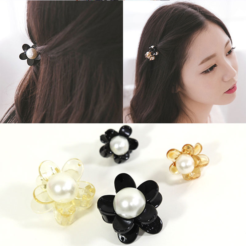 New Lovely Plum Flowers Pearl Small Side Black Hair Clip Girls Hair Claws Hairpins Cute Headbands For Womens Hair Accessories