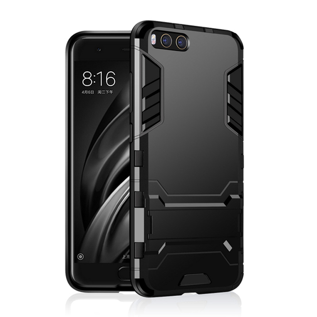 CAPSSICUM Mi6 Armor Case for XIAOMI MI6 PC+Silicone Hard Antiknock Shockproof Kickstand Back Cover Shell Stand High Quality