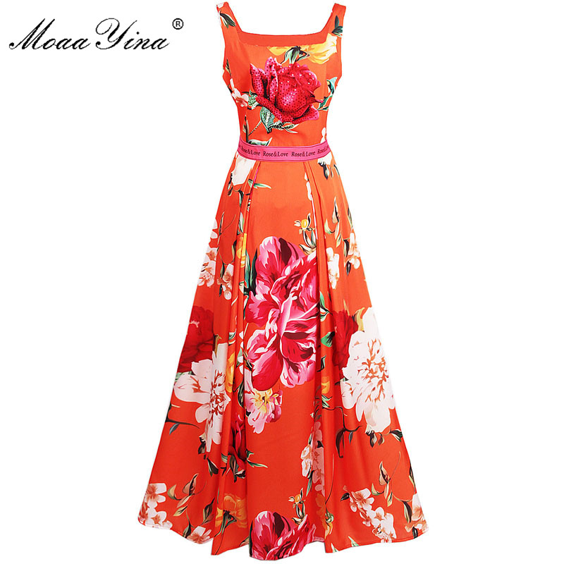 MoaaYina Fashion Designer Runway Dress Summer Women Spaghetti Strap Rose Floral Print Beaded Casual Holiday Elegant
