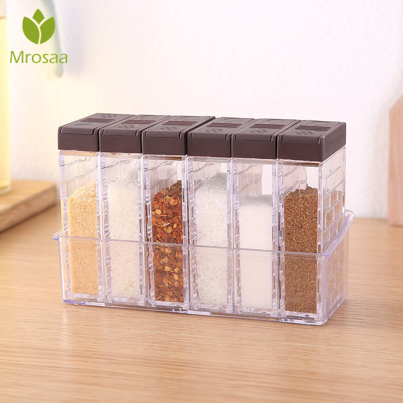 Kitchen Tool Seasoning Bottles Jars Boxes Plastic Spice Lid Can Sugar Layers Storage Organizer Box Home Organization Accessories
