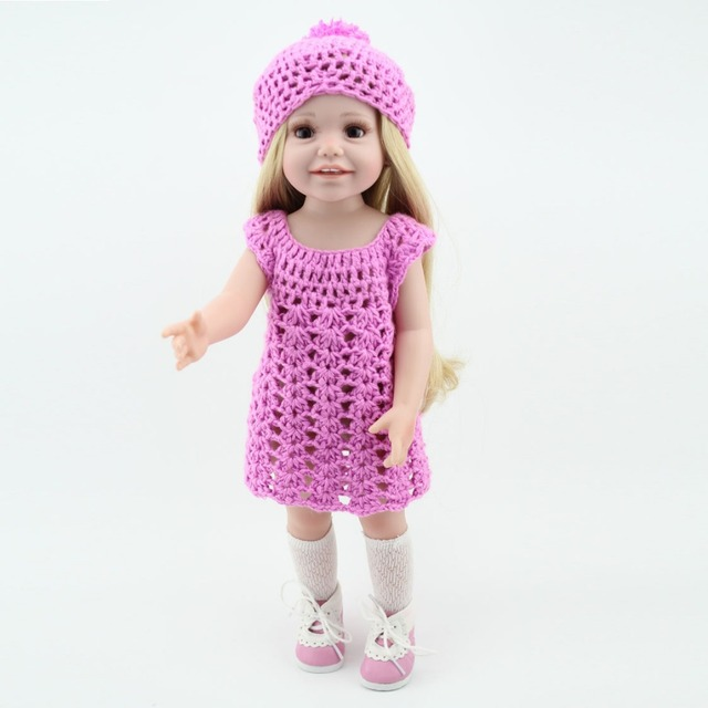 Wholesale Dolls Clothes Purple Knit Dress Hat Fit 18 Inch American