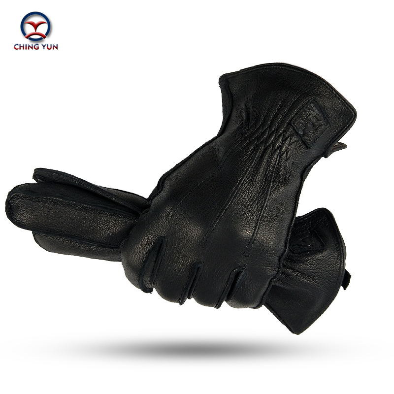 CHING YUN Winter Man Deer Skin Leather Gloves Male Warm Soft Men's  Black Men Mittens Imitate Rabbit Fur 70% Wool Lining-WZ01