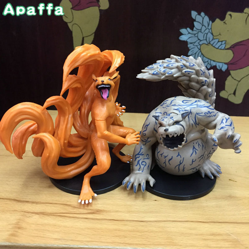 Newest Arrival 2pcs/set Anime NARUTO Kyuubi Kurama Shuukaku PVC Action Figure Model Toy Collectible Toy Kids Gifts 12cm дождеватель доляна 1006611