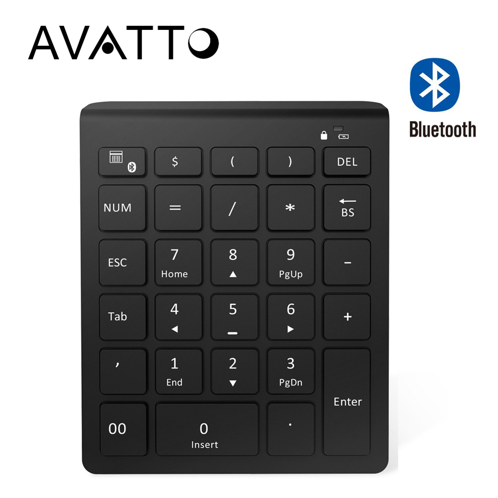 AVATTO Ultra Slim 28 Keys Bluetooth Numeric Keypad Number Pad with Scissor-Switch Mini Digtal Keyboard for PC Surface Pro Tablet avatto ultra slim 28 keys 2 4g wireless numeric keypad number pad with scissor switch digtal keyboard for pc surface pro tablet