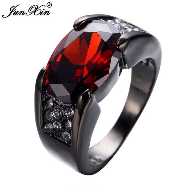 JUNXIN Retro Vintage Red Ring Black Gold Filled Zircon Ring Women Men Wedding Engagement Party Jewelry Joyeria