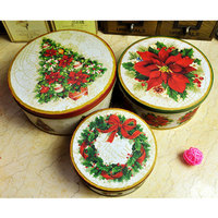 3PCS Set Metal Christmas Tree Packing Box Wreath Round Storage Box Cookies Gift Box Florist Packing