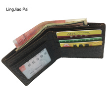 LingJiao Pai top quality cow genuine leather men wallets luxury dollar price short style male alligator purse carteira masculina