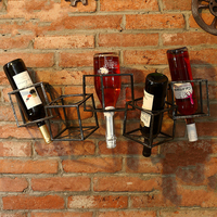 Metal European wine rack hanging wall Wine rack square wine rack shelf iron hanging wall frame iron art kitchen shelf