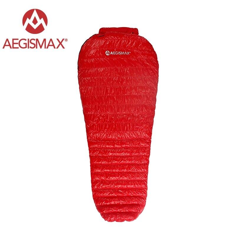 Aegismax Neue Mini Upgrade Schlafsack 95% Weiße Gans Unten Spleißen Mummy Ultraleicht Wandern Camping 800 FP Nano Nano2 Rot blau