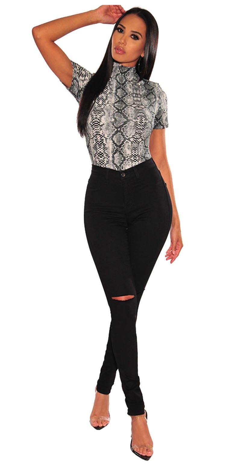 Gray-Snake-Print-Mock-Neck-Short-Sleeves-Bodysuit-LC32345-11-3