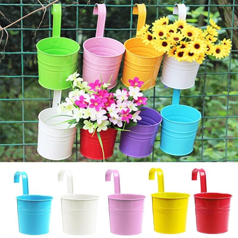 new fashion colorful macetas vertical garden planters metal flower pots hang bucket hanging wall pot de fleur home decorin flower pots u planters from