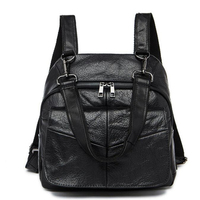 2017 New Han Style Black Genuine Leather Women Bags Tide First Layer Cow Leather Mini Travel Backpack Punk Women Shoulder Bags