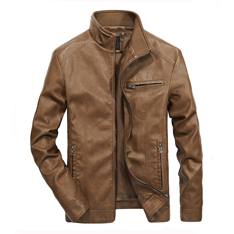Mens leather Jacket design stand collar Coat Men casual motorcycle leather coat Mens Sheepskin jackets Windbreaker Coat