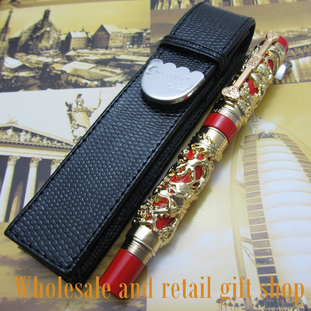 Jinhao Long Feng heavy gold red Chinese Classical luck clip Dragon roller pen and pen bag roller ball pen jinhao 189 noblest ancient silver medium 0 7mm nib great wall pen