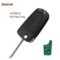 OkeyTech 2 Button 433Mhz Remote Control Car Key For Vauxhall Opel Zafira Astra H 2004 2009 Flip Folding PCF7941 Chip HU100 Blade