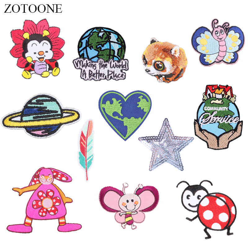 ZOTOONE Planet Insect Patches Ladybug Stickers Iron on Clothes Heat Transfer Applique Embroidered Applications Cloth Fabric G
