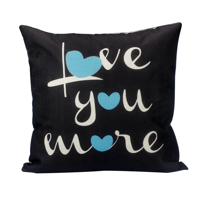 1PC Antique Black pillowslip case Big LOVE YOU MORE Letters square cushion case pillow cover vintage style drop shipping on sale