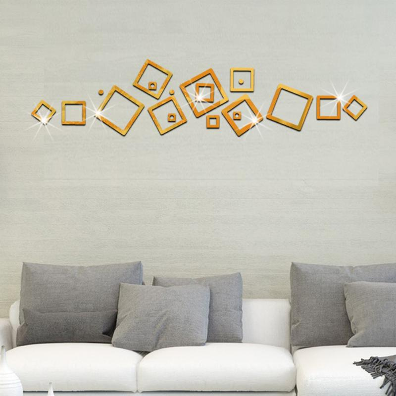 3D Square Cube Acrylic Mirror Sticker DIY Home Background ...