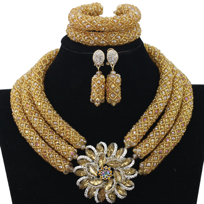 Chunky Gold Crystal Beads Women Necklace Bridal Fashion Jewelry Wedding African Beads Jewelry Set 2018 Free